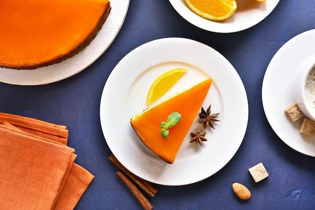 Fatia de torta de abóbora