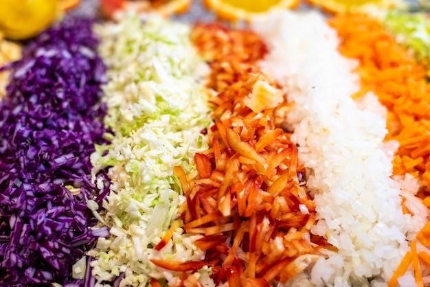 Fatia fresca de legumes, pimenta vermelha, cenoura, repolho e cebola