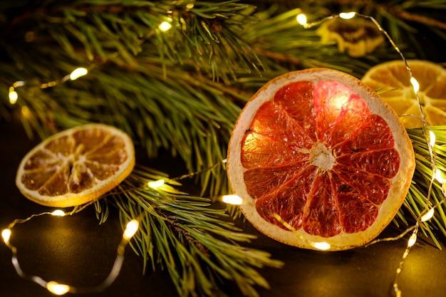 Fatias de frutas cítricas secas com guirlanda clara e galhos de pinheiro