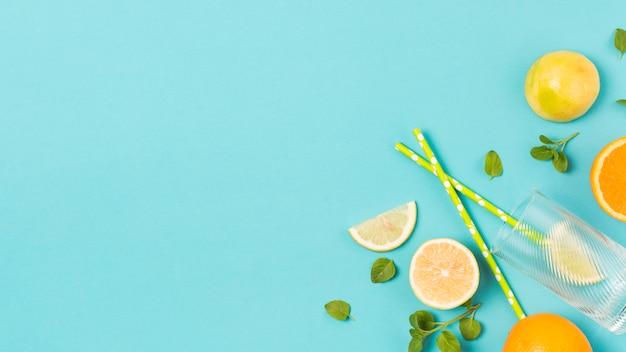 Fatias de frutas frescas entre ervas e vidro