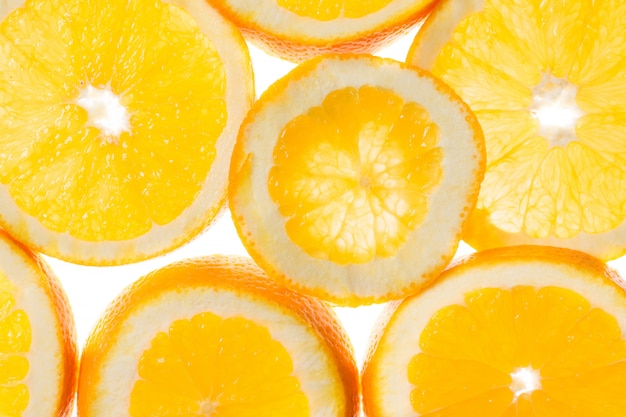 Fatias de fundo laranja, vista em contraluz