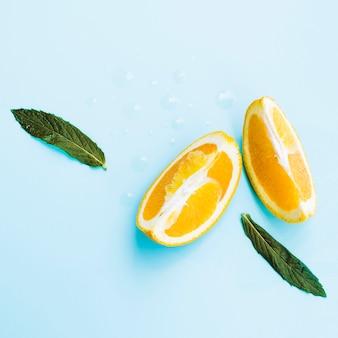 Fatias de laranja com hortelã no studio
