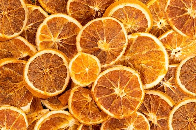 Fatias de laranja desidratada. foco seletivo.