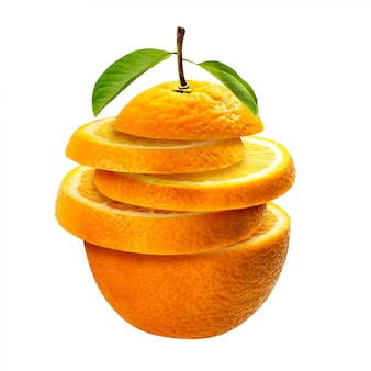 Fatias de laranja em branco