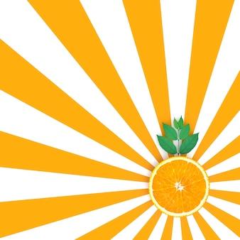 Fatias de laranja na cor laranja e branco padrão de fundo
