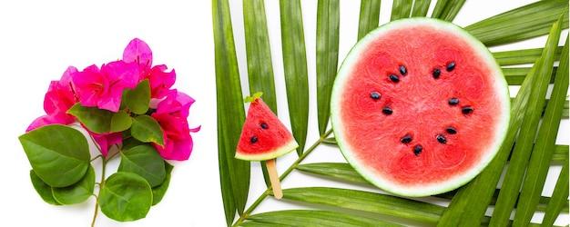 Fatias de melancia em folhas de palmeira tropical e flores de buganvílias vermelhas em branco