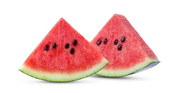 Fatias de melancia, isolada no fundo branco.