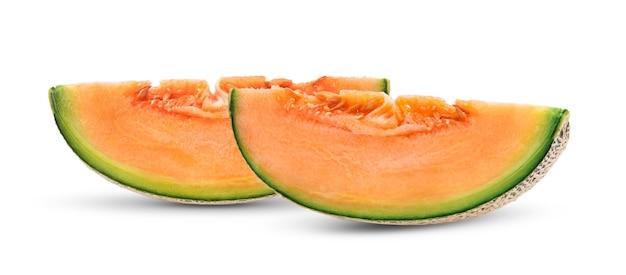 Fatias de melão melão isoladas no fundo branco Foto Premium