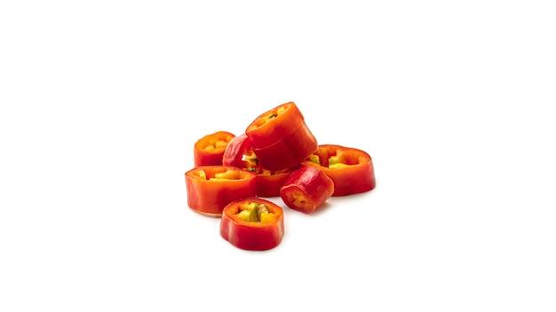 Fatias de pimenta vermelha.
