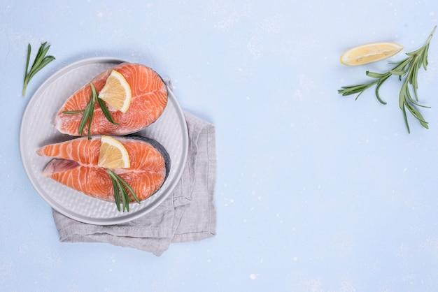 Fatias de salmão copiam espaço