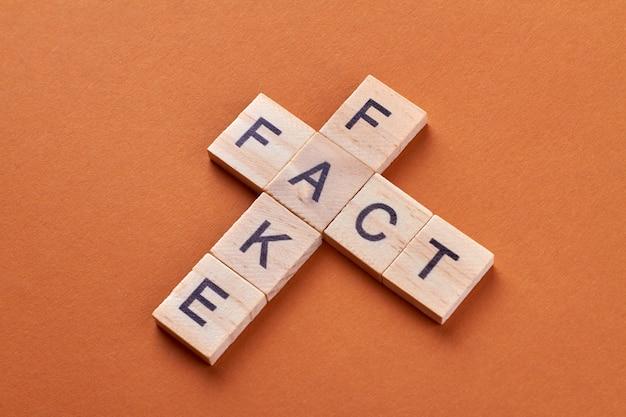 Fato e frase de palavra falsa por bloco de letras. cubos de alfabeto com letras isoladas em fundo laranja.