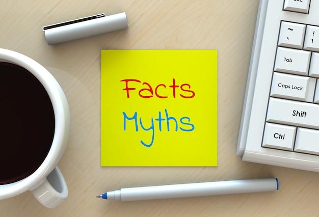 Fatos mitos, mensagem em papel de nota, computador e café na mesa, renderização em 3d