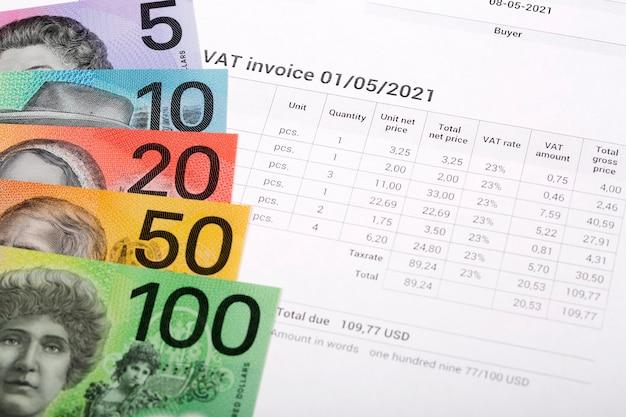 Fatura de iva com dinheiro australiano