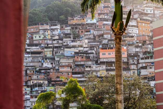 Favela da rocinha no rio de janeiro, brasil - 26 de agosto de 2021: favela da rocinha, vista do bairro da gávea no rio de janeiro.