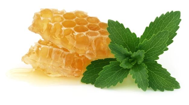 Favo de mel com estévia sobre fundo branco