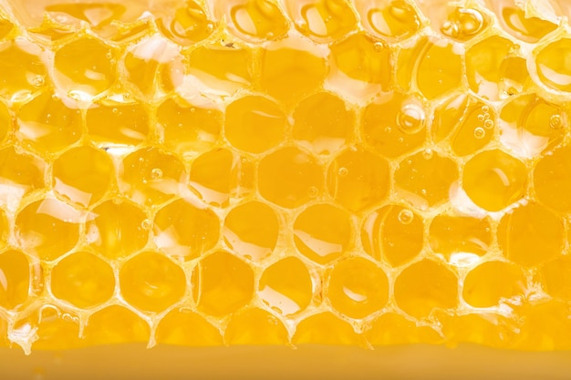 Favo de mel orgânico cheio de mel. textura hexagonal, macro