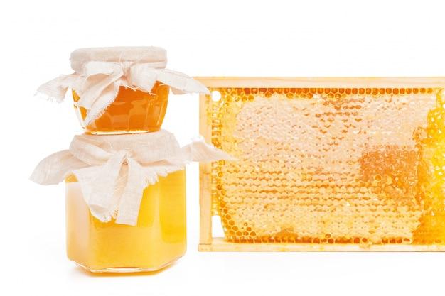 Favos de mel frescos em branco