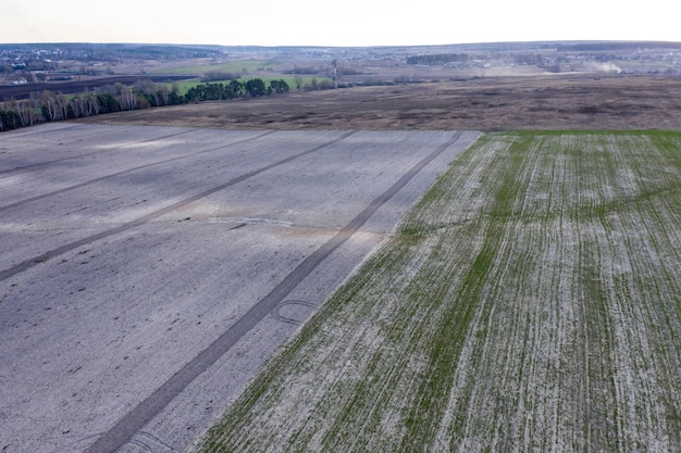 Fazenda campo agricultura vista de cima drone atirando vista de cima