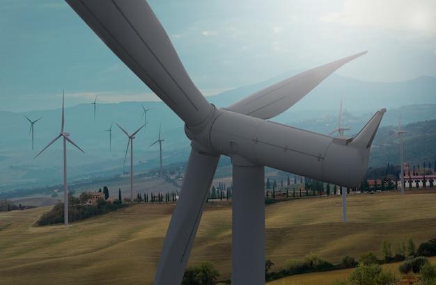 Fazenda de turbinas eólicas na paisagem de bela natureza.