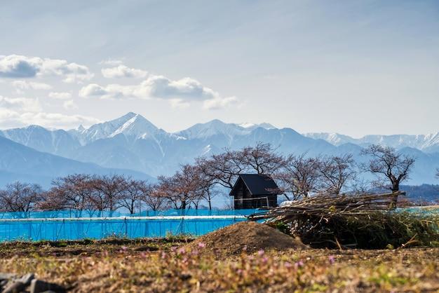 Fazenda e casa de madeira com montanha nos alpes centrais, matsumoto