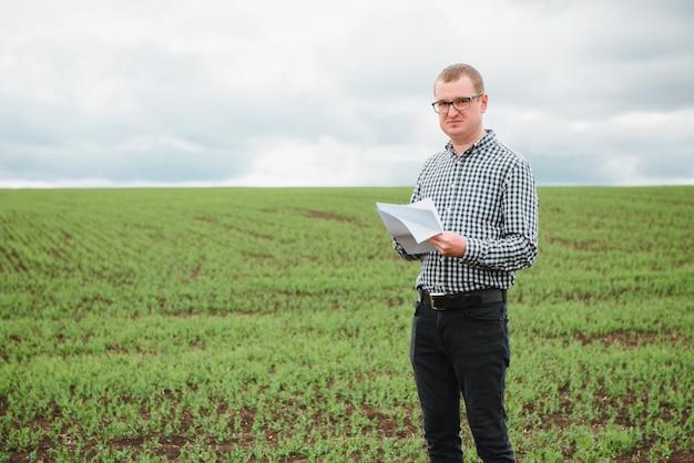 Fazendeiro em um campo de ervilhas. conceito de agricultura. o fazendeiro trabalha no campo