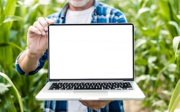 Fazendeiro envelhecido meio que está em um campo que guarda o portátil.