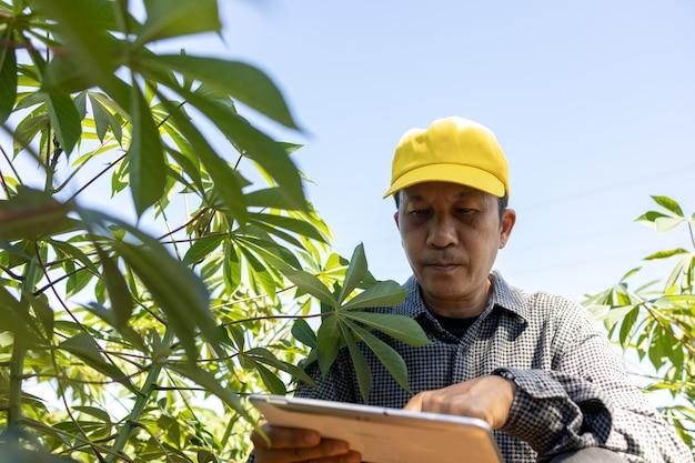 Fazendeiro inteligente um homem asiático usa um tablet para analisar as safras que cultiva em sua fazenda durante o dia.