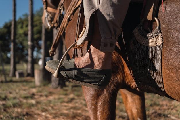Fazendeiro local montando seu cavalo. gaucho.
