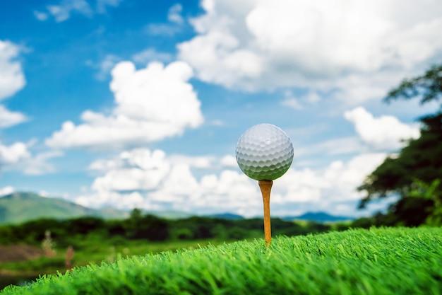 Fechar a bola de golfe com fundo de natureza
