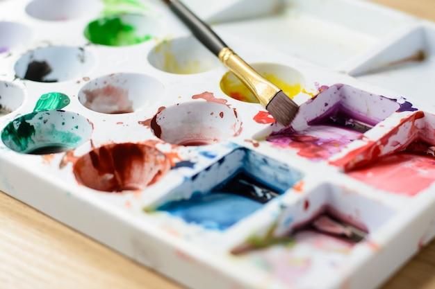 Fechar a paleta com cores e pincel