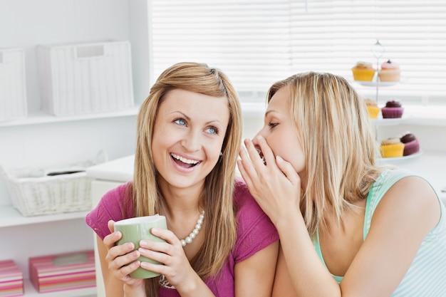 Fechar as amigas conversando com uma xícara de café em casa