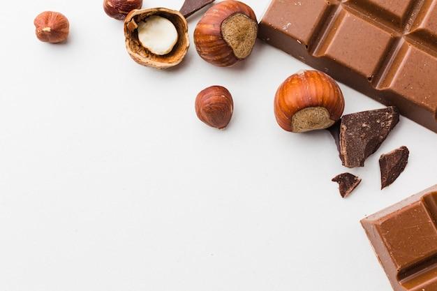 Fechar castanhas com chocolate