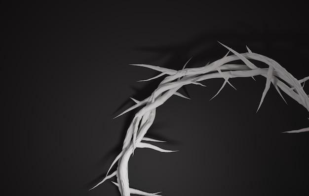 Fechar crown of thorns 3d rendering espaço vazio fundo escuro