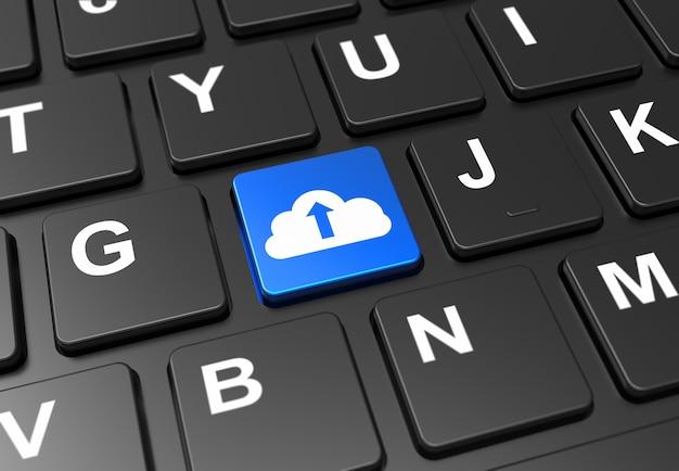 Fechar o botão azul com sinal de upload de nuvem no teclado preto