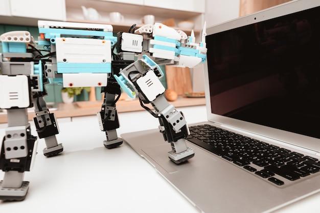Fechar-se. suporte do rinoceronte do robô na mesa de cozinha.