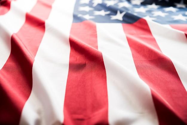Feche a bandeira dos estados unidos da américa. eua dia da independência, 4 de julho.
