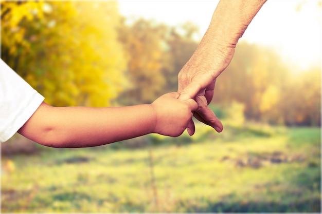 Feche a foto do pai segurando a mão do bebê