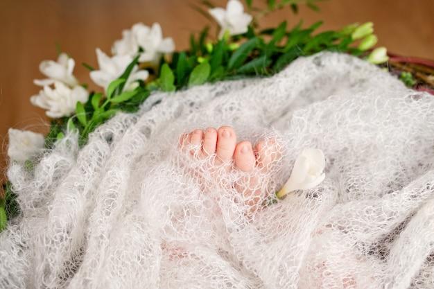 Feche a foto dos pés do bebê recém-nascido em uma manta de malha e flores