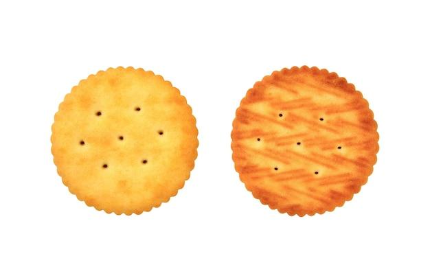 Feche a frente e o verso de biscoitos tipo cracker redondos