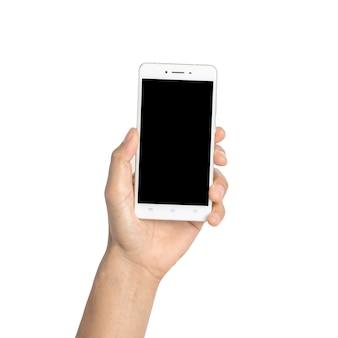 Feche a mão segure smartphone isolado no branco, com traçado de recorte.