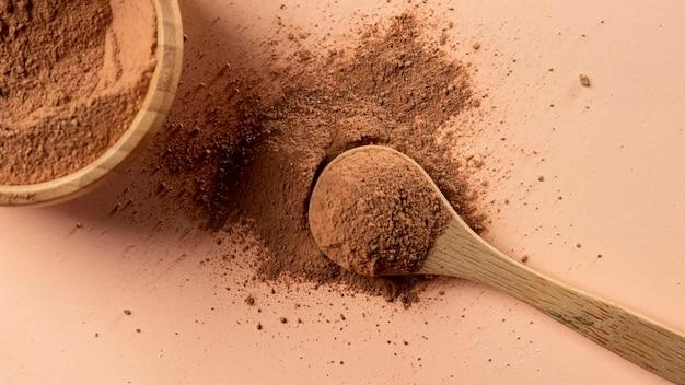 Feche a mistura de pó de argila