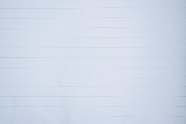 Feche a página branca do caderno com linha