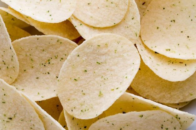 Feche a textura das batatas fritas