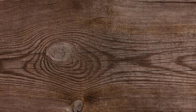 Feche a textura do fundo da superfície de madeira marrom envelhecida vintage com nós e manchas