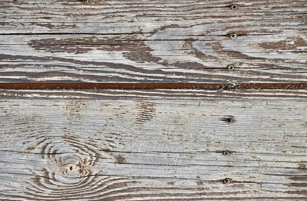 Feche a textura do fundo da superfície de madeira pintada de branco envelhecido vintage com nós e manchas