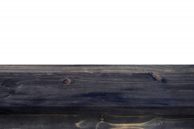 Feche acima da bancada de madeira