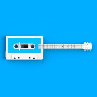Feche acima da cassete de fita audio do vintage com ilustração do conceito da guitarra acústica no fundo azul