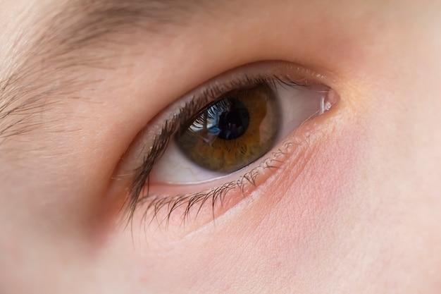 Feche acima da macro do olho de menino criança