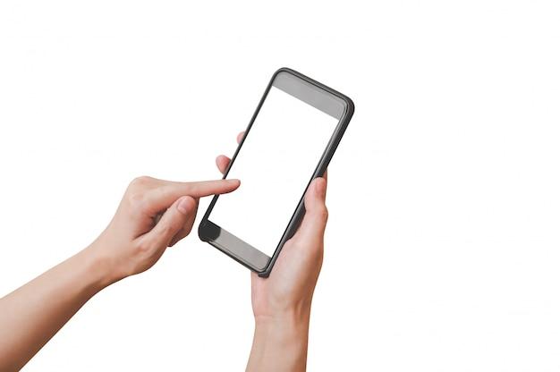 Feche acima da mulher da mão que guarda e que usa o telefone sobre isolado com trajeto de grampeamento.