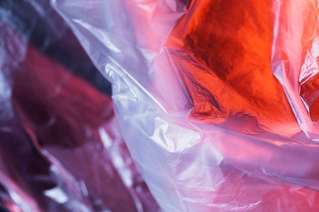 Feche acima da superfície do saco de plástico
